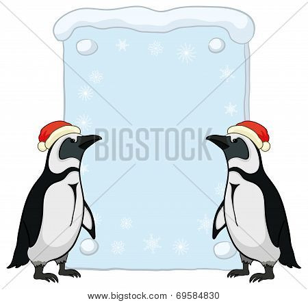 Penguins with Christmas poster