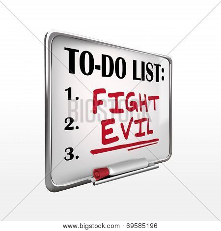 The Word Fight Evil On To-do List Whiteboard