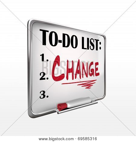 The Word Change On To-do List Whiteboard