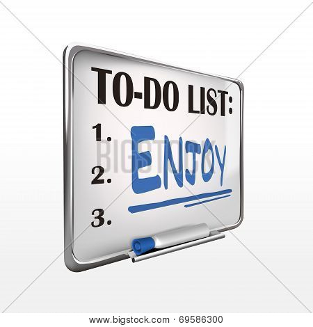 The Word Enjoy On To-do List Whiteboard