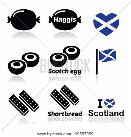 Scottish food - Haggis, Scotch egg, Shortbread icons set