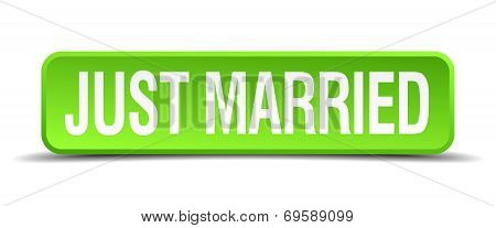 Just Married Green 3D Realistic Square Isolated Button