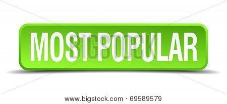 Most Popular Green 3D Realistic Square Isolated Button