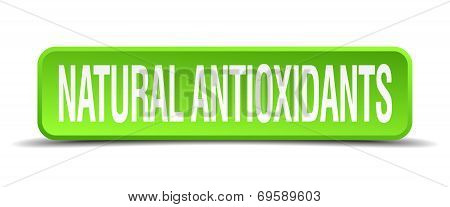 Natural Antioxidants Green 3D Realistic Square Isolated Button