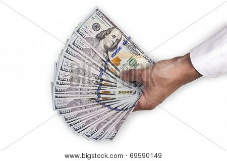 Hand Of A Man Holding Dollar Bills
