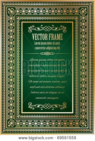 Luxury vintage ornate frame with sample text, divider and calligraphic elements.
