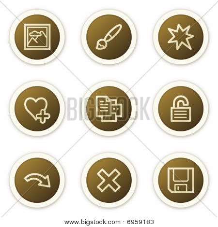 Image viewer web icons set 2,  brown circle buttons series