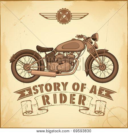 illustration of vintage motorcycle on retro background