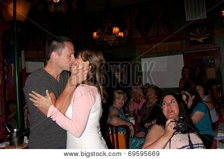 LOS ANGELES - AUG 1:  William deVry, Nancy Lee Grahn at the William deVry Fan Club Event at the California Canteen on August 1, 2014 in Los Angeles, CA