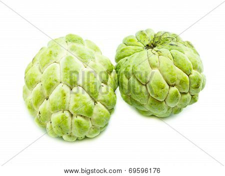 Custard Apple Fruit,annona Squamosa On White Background