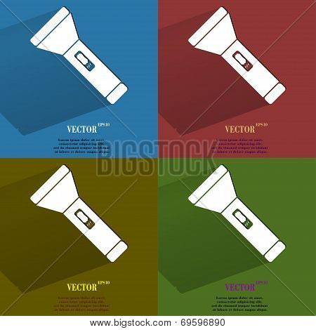 Color set Flashlight . Flat modern web button with long shadow and space for your text.