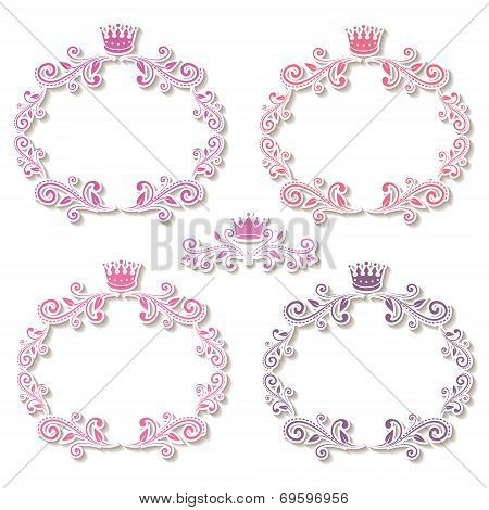 set of four purple frames with crowns