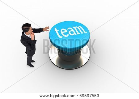 The word team and thoughtful asian businessman pointing against white background