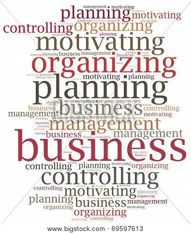 Business Management Functions. Word Cloud Illustration.