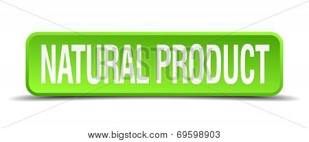 Natural Product Green 3D Realistic Square Isolated Button