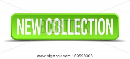 New Collection Green 3D Realistic Square Isolated Button