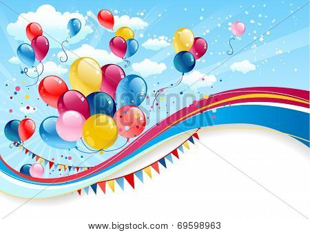 Holiday background with balloons with place for text. Raster version.