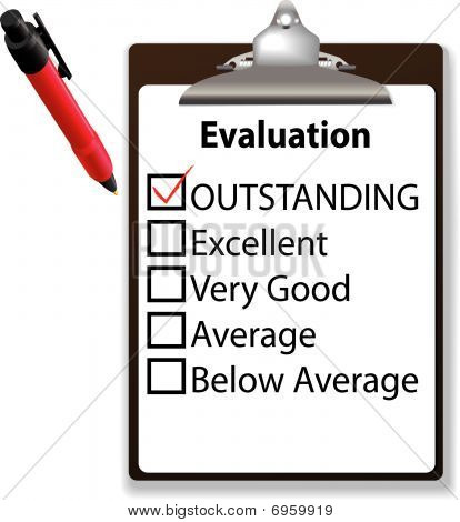 Outstanding Job Evalution Clipboard Check Mark Pen