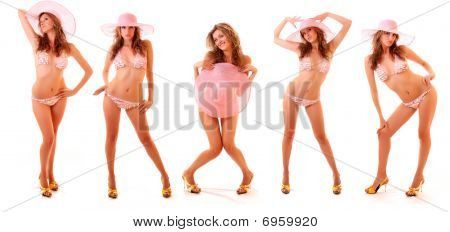 Collage Made With   Model In Pink Bikini