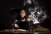 picture of sorcery  - Little Halloween witch reading conjure above pot - JPG