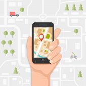 stock photo of gps navigation  - mobile gps navigation on mobile phone with map and pin vector illustration - JPG