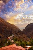pic of canary  - Sunset in canyon Masca at Tenerife island  - JPG