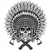 image of skull bones  - fully editable vector illustration of american indian chief skull with tomahawk - JPG