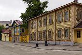 foto of tatar  - decorative wooden houses in old Tatar Sloboda Kazan Russia - JPG