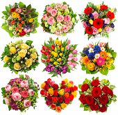 stock photo of rosa  - nine colorful flowers bouquet for Birthday Wedding Mother - JPG