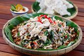image of shredded cheese  - Milling shredded chicken salad   - JPG