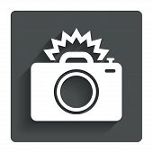 stock photo of flashing  - Photo camera sign icon - JPG