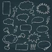 image of chalkboard  - Chalkboard set of speech bubbles in comics style - JPG