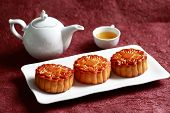 pic of mid autumn  - Mooncakes with a tea pot and tea  - JPG