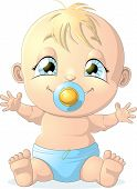 pic of diaper  - beautiful baby in diaper on white background - JPG
