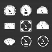 pic of speedometer  - Set icons of speedometers isolated on black - JPG