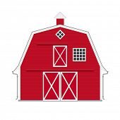stock photo of red barn  - Traditional american red barn isolated - JPG