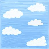 pic of peculiar  - Background of sky and clouds stylized hand coloring - JPG