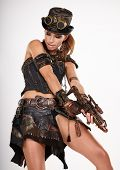 stock photo of steampunk  - Steampunk isolated woman - JPG