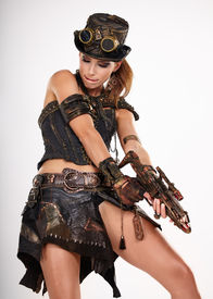 foto of steampunk  - Steampunk isolated woman - JPG