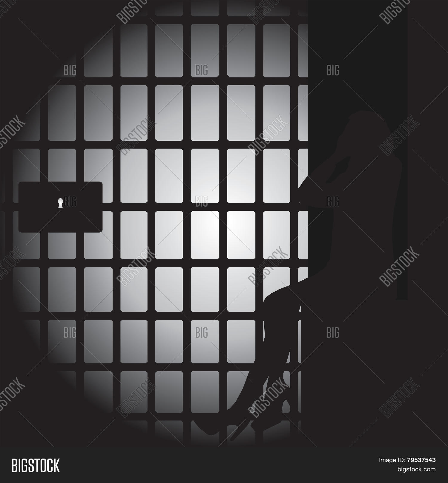 Silhouette Of A Women In A Dark Jail Cell Stock Vector ...