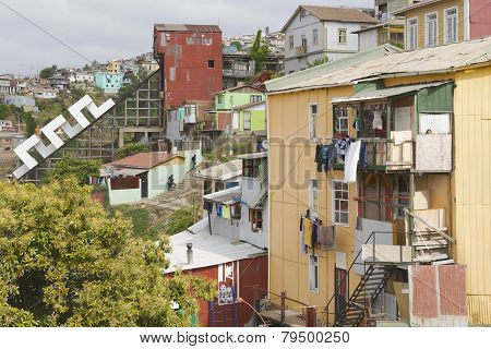 View to the poor residential area and funicular, Valparaiso, Chile.