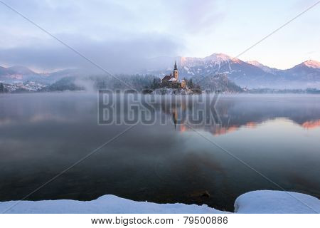 Lake Bled and the mountains in winter morning