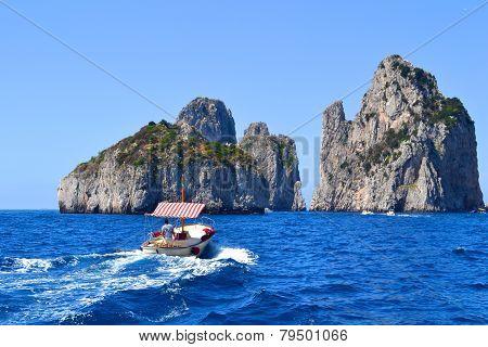 Boating to Capri, Italy
