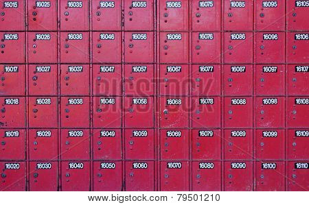 Rows Of Red Post Office Boxes