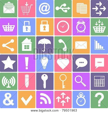 Basic icons set. Apps Smartphone sign icon. Vector Illustration