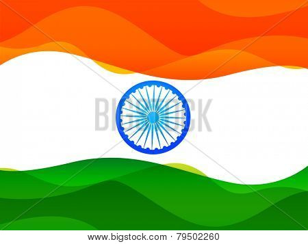 vector indian flag made in simple wave style with indian wheel