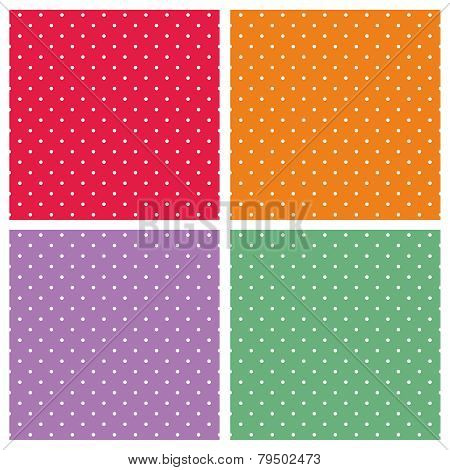 Vector set with sweet tile patterns with white polka dots