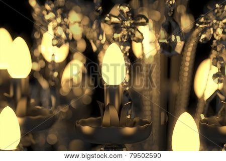 Energy saving lamps glowing in crystal chandelier (3D Rendering)