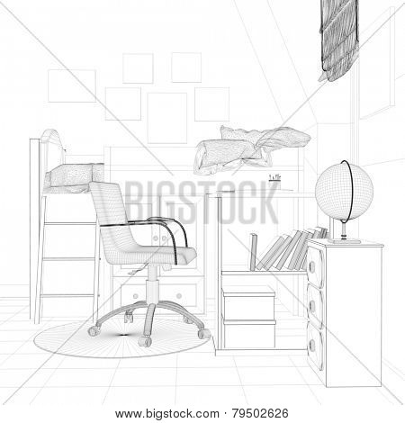 Wireframe sketch of nursery with desk and bed (3D Rendering)