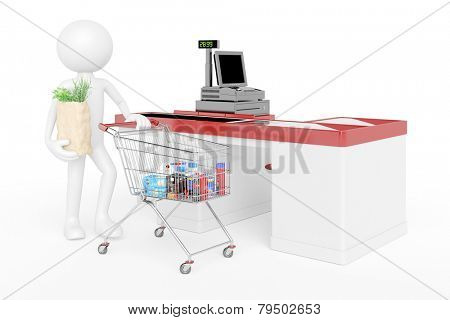 White 3D guy with shopping cart in supermarket at checkout (3D Rendering)